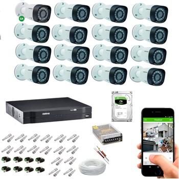 Kit CFTV Intelbras 16 Câmeras HD 720P VHD 1120 B Infravermelho 20 metros DVR MHDX 1116 HD 2TB de Armazenamento + Acessórios