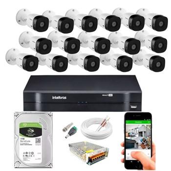 Kit CFTV Intelbras 16 Câmeras HD 720P VHL 1120 B Infravermelho 20 metros DVR MHDX 1116 HD 1TB de Armazenamento + Acessórios