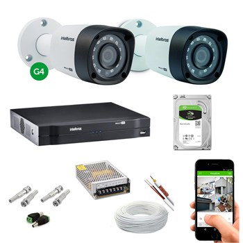 Kit CFTV Intelbras 2 Câmeras FULL HD 1080P VHD 3240 VF Infravermelho 40 metros DVR MHDX 3104 HD 1TB de Armazenamento + Acessórios
