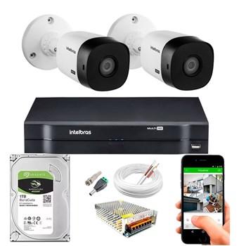 Kit CFTV Intelbras 2 Câmeras HD 720P VHL 1120 B Infravermelho 20 metros DVR MHDX 1104 HD 1TB de Armazenamento + Acessórios