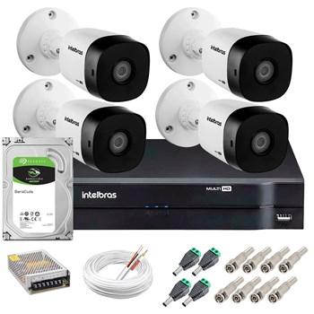 Kit CFTV Intelbras 4 Câmeras HD 720P VHD 1010 B Infravermelho 10 metros DVR MHDX 1104 HD 1TB de Armazenamento + Acessórios