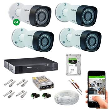Kit CFTV Intelbras 4 Câmeras HD 720P VHD 3130 B Infravermelho 30 metros DVR MHDX 1104 HD 1TB de Armazenamento + Acessórios