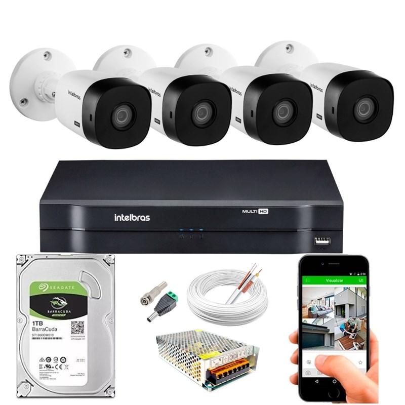 Kit CFTV Intelbras 4 Câmeras HD 720P VHL 1120 B Infravermelho 20 metros DVR MHDX 1104 HD 1TB de Armazenamento + Acessórios