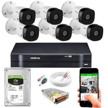 Kit CFTV Intelbras 6 Câmeras FULL HD 1080p VHL 1220 B Infravermelho 20 metros DVR MHDX 3108 HD 1TB de Armazenamento + Acessórios
