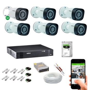 Kit CFTV Intelbras 6 Câmeras HD 720P VHD 1120 B Infravermelho 20 metros DVR MHDX 1108 HD 1TB de Armazenamento + Acessórios