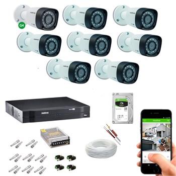 Kit CFTV Intelbras 8 Câmeras HD 720P VHD 1010 B Infravermelho 10 metros DVR MHDX 1108 HD 2TB de Armazenamento + Acessórios