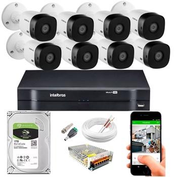 Kit CFTV Intelbras 8 Câmeras HD 720P VHL 1120 B Infravermelho 20 metros DVR MHDX 1108 HD 1TB de Armazenamento + Acessórios