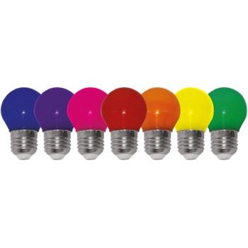 Lâmpada LED Bolinha Colorida 1W E27 127V Azul