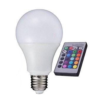 Lâmpada LED Bulbo RGB 5W Colorida Bivolt com Controle Remoto