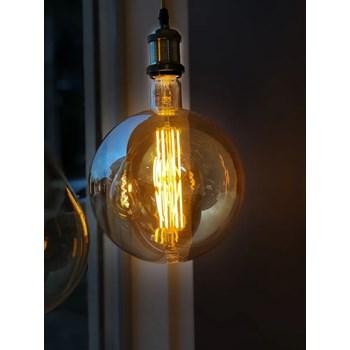 Lâmpada LED Filamentro Retrô Bulbo G200 Luz Âmbar 27cm E27