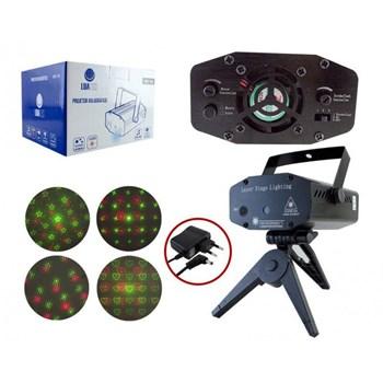 Mini Projetor Holográfico Laser Verde E Vermelho com desenhos Bivolt com Sensor de Som Luatek Lk 173A