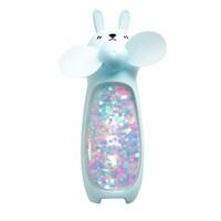 Mini Ventilador Portátil Coelho com Glitter e LED de Mão USB Rosa