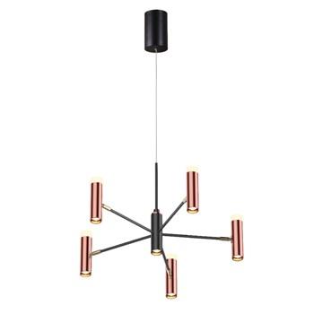 Pendente Acrílico LED 42w 3000k Preto e Cobre 60x60x120cm