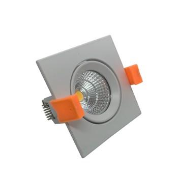 Spot LED COB Embutir 7W Direcionavel Quadrado Branco Quente